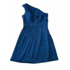 Jenny Yoo Blue Hammered Satin One Shoulder Dress
